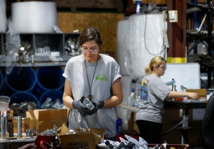<strong>Mahaffey employee Nicole Sztapka (front) works on packing cable fasteners for shipping on Wednesday, April 8, 2020.</strong> (Mark Weber/Daily Memphian)
