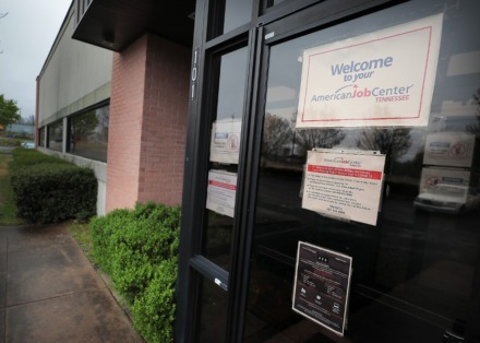 <strong>Doors are closed to job seekers on March, 24 2020, at the unemployment office in Hickory Hill even as the unemployment rate soars in Memphis due to layoffs caused by COVID-19.</strong> (Jim Weber/Daily Memphian)