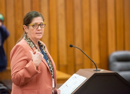 <strong>Dr. Alisa Haushalter, Shelby County Health Department director, gives the Shelby County Commission updates about the Covid-19 virus in Shelby County on March 17, 2020.</strong> (Daily Memphian file)