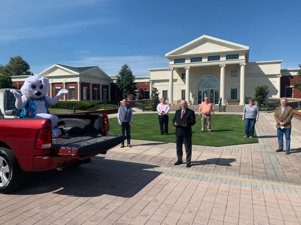 <strong>The Easter Bunny has been named an essential employee in Collierville. The proclomation was read by Mayor Stan Joyner as he was accompanied by the Board of Mayor and Aldermen this afternoon. </strong>(<em>Courtesy of the Town of Collierville</em>)