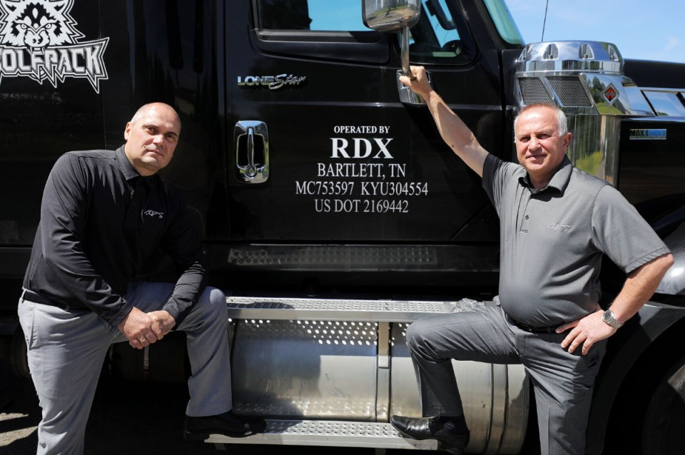 <strong>Business partners Dian Tchoparov (left) and Roumen Denkov are looking to build a new headquarters property for their trucking company RDX on the east half of the old Mall of Memphis property, moving from their current location in Bartlett, seen here on April 9, 2020.</strong> (Patrick Lantrip/Daily Memphian)