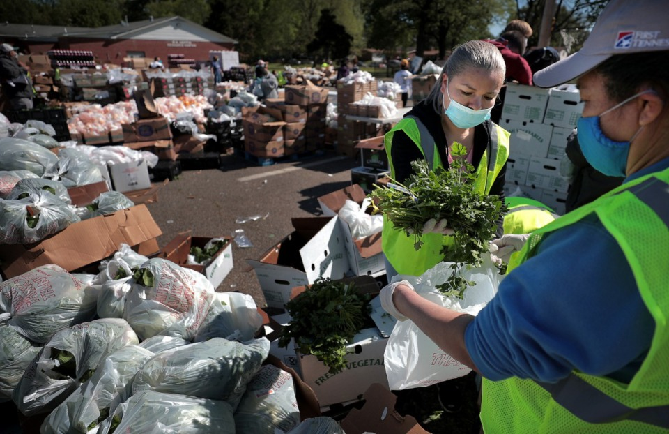 <strong>Maria Lozano (left) and Otilia Wood portion out fresh parsley as some 80 volunteers from Las Americas and Nueva Direccion Church rush to distribute food for 1,000 families on April 10, 2020, from the Mid-South Christian College campus.</strong> (Jim Weber/Daily Memphian)