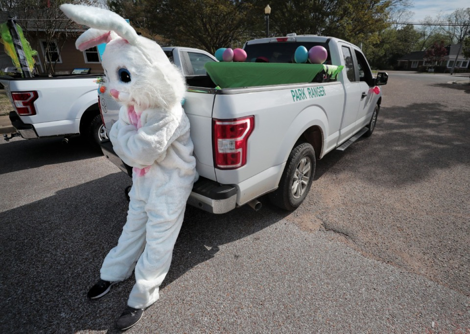 <strong>Volunteer bunny J.D. McMillian gets ready for a long truck ride as Germantown Parks and Recreation gives kids their big-bunny fix in an era of social distancing by driving the Easter Bunny around several Germantown neighborhoods on April 11, 2020.</strong> (Jim Weber/Daily Memphian)