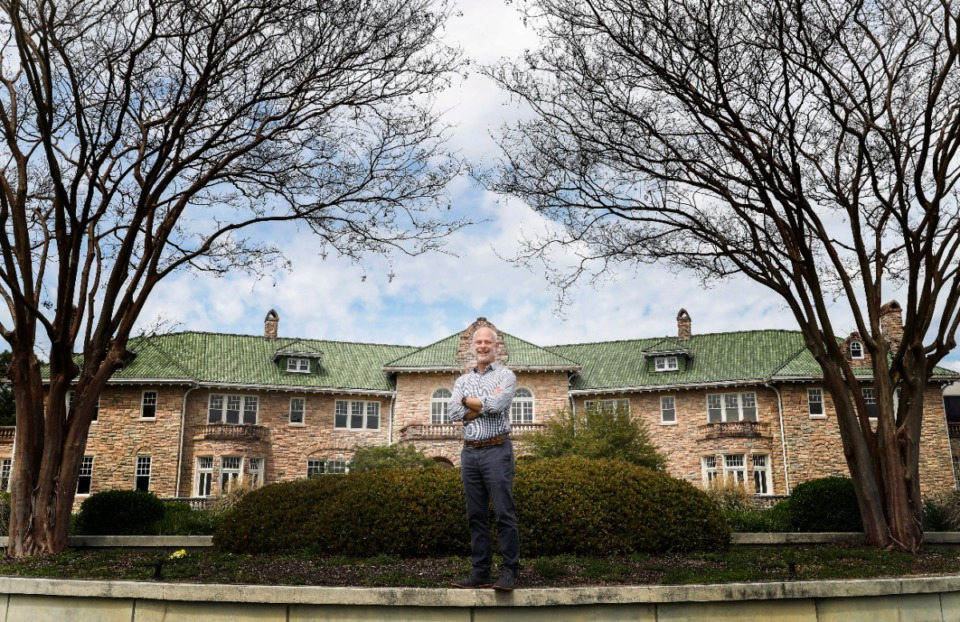 <strong>Kevin Thompson took over as director of the Pnk Palace Museum in January. He was photographed April 6, 2020, outside the mansion built by Piggly Wiggly founder Clarence Saunders&nbsp;</strong>(Mark Weber/Daily Memphian)