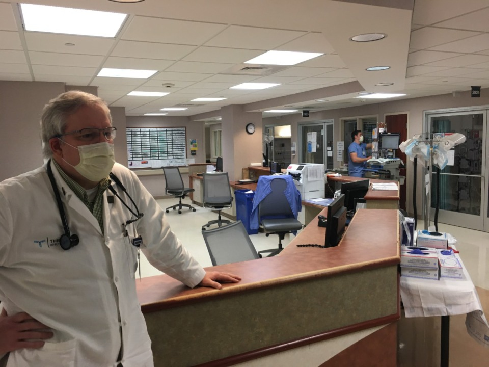 <strong>Dr. Stephen Threlkeld, co-director of Baptist Memorial Hospital-Memphis&rsquo; infectious disease program, at the hospital&rsquo;s COVID ICU unit.</strong> (Chris Herrington/Daily Memphian)