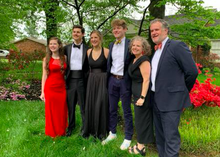 <strong>Mary Banks Hickman (from left), Jake Hickman, Elizabeth Ann Hickman, Clay Smith. Sissy Hickman and J. Hickman take pictures outside before celebrating their own version of Westminster Academy's Protocol Ball. Elizabeth Ann is a senior at the classical Christian School.&nbsp;</strong>(<em>Submitted</em>)