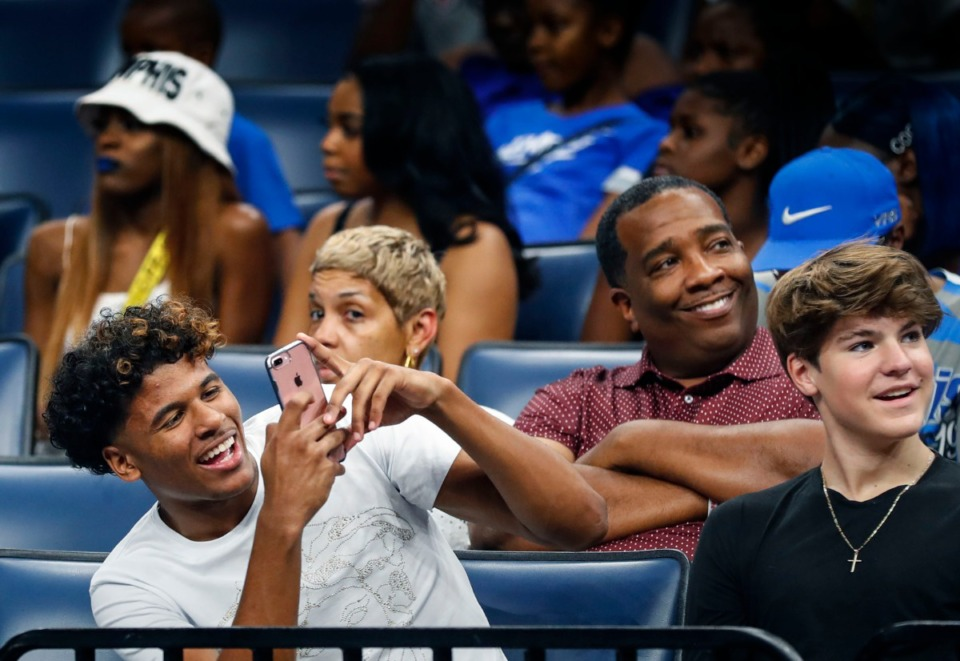 <strong>Tiger recruit Jalen Green (left) attends Memphis Madness at the FedExForum Thursday, Oct. 3, 2019.</strong> (Mark Weber/Daily Memphian)
