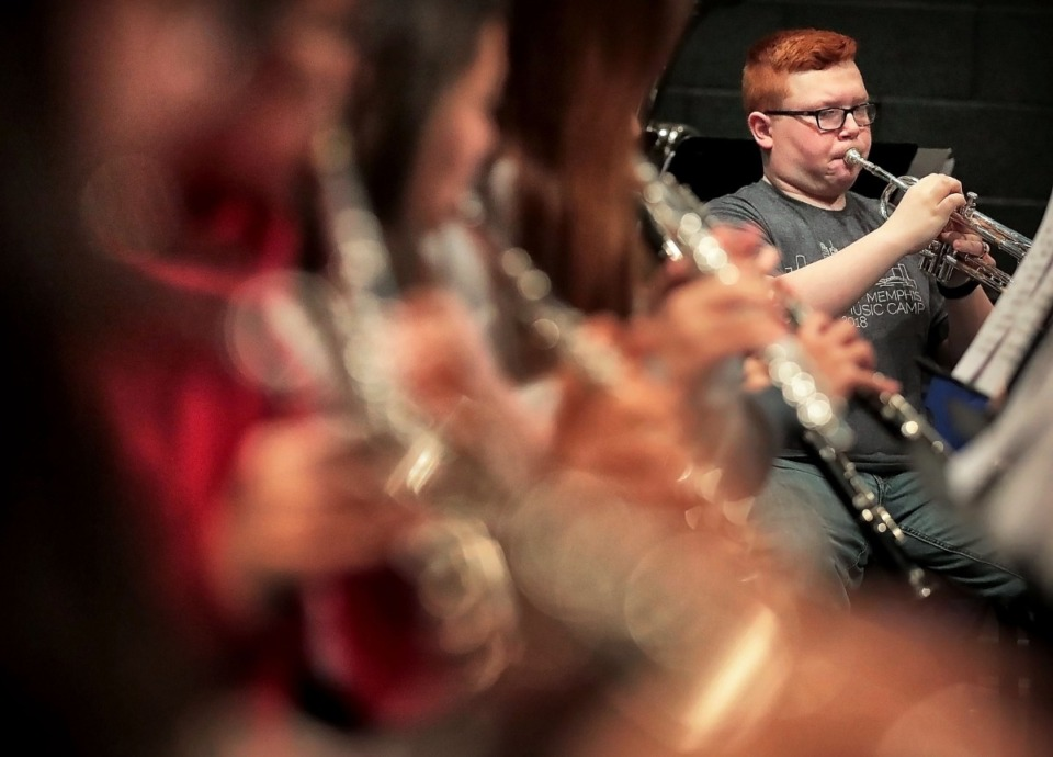 <strong>Trumpet player Evan Golden, 14, and fellow members of the GPAC Youth Symphony rehearsea ballet score at the Germantown Performing Arts Center on Nov. 9, 2019.</strong> (Jim Weber/Daily Memphian)