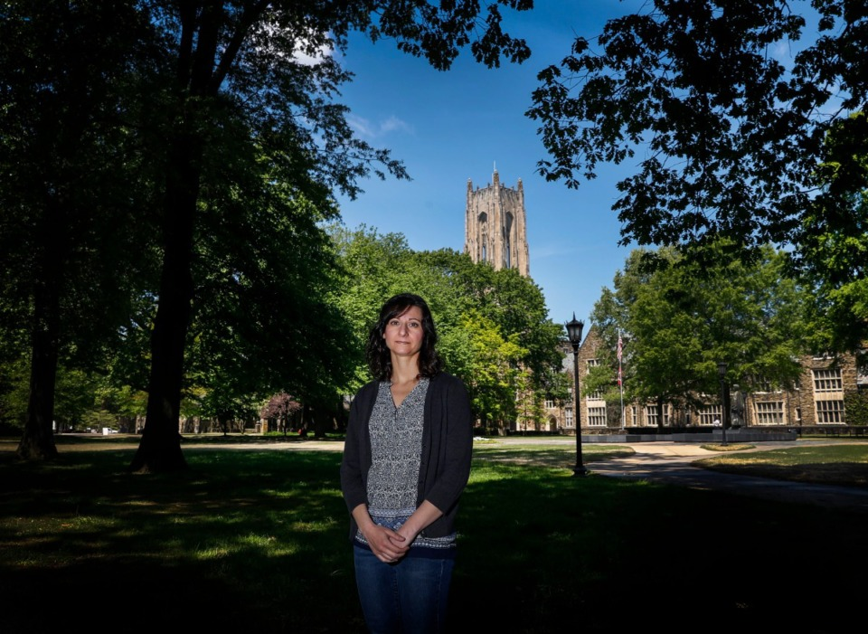 <strong>Becky Klatzkin, a Rhodes College Professor of Psychology and Neuroscience stands on campus on Monday, April 20, 2020.</strong>&nbsp;<strong>Chronic stress and stress-eating are two of her areas of emphasis.</strong> (Mark Weber/Daily Memphian)