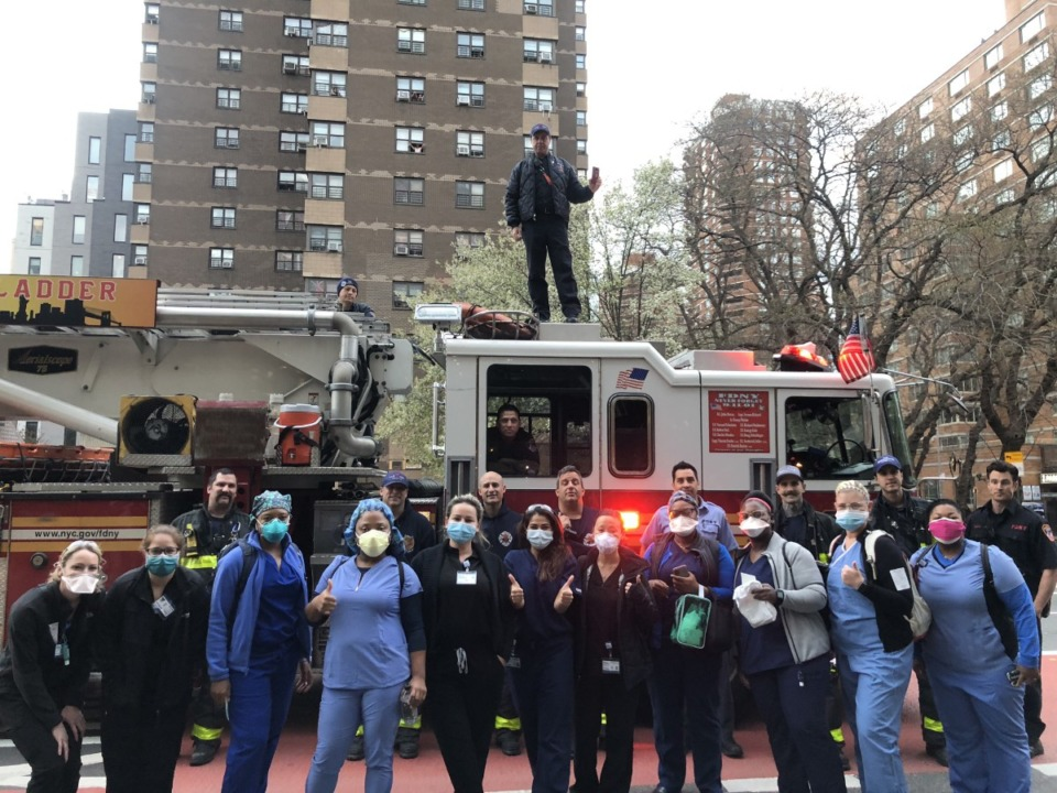 <strong>State Sen. Katrina Robinson, fourth from left, poses with other healthcare workers outside Bellevue Hospital in Manhattan.</strong> (Submitted)