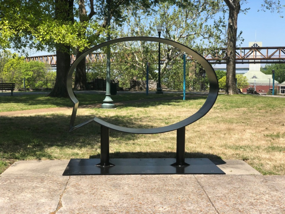 "<strong>The sculpture ""Ernest and Ruth"" by Hank Willis Thomas, constructed of steel plate and pipe, is on display on the Fourth Bluff Downtown.</strong> (Courtesy the artist and Jack Shainman Gallery, New York)"