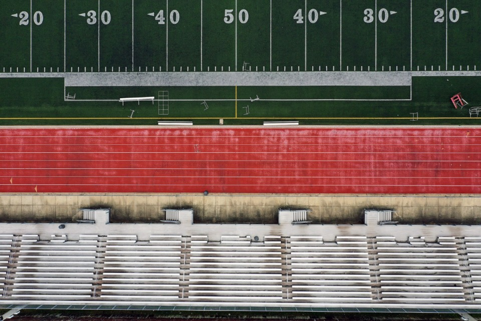 <strong>Central High School's Crump Stadium sits empty April 22, 2020 as students remain at home during the COVID-19 pandemic.</strong> (Patrick Lantrip/Daily Memphian drone photo)