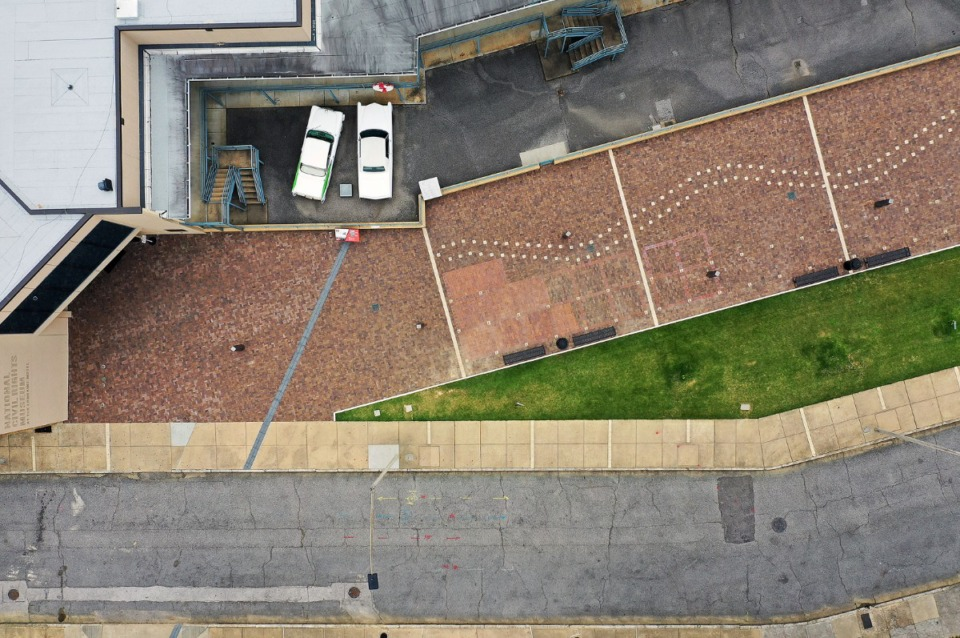 <strong>The normally busy Memphis Civil Rights Museum, which draws crowds from all over the world looking to pay respects to Dr. Martin Luther King sits empty April 22, 2020.</strong> (Patrick Lantrip/Daily Memphian drone photo)