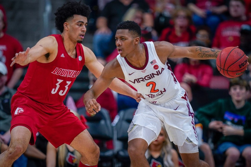 <strong>Virginia Tech guard Landers Nolley II (2) dribbles around Louisville forward Jordan Nwora (33) during the second half of an NCAA college basketball game, Sunday, March 1, 2020, at the KFC YUM Center in Louisville, Ky.</strong> (AP Photo/Bryan Woolston)