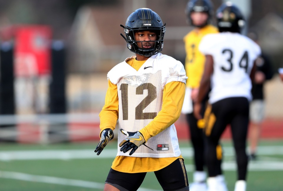 <strong>University of Missouri wide receiver and graduate of Melrose High School Johnathan Johnson (12) lines up for an offensive drill during a practice hosted at Rhodes College on Dec. 31, 2018.</strong> (Houston Cofield/Daily Memphian)