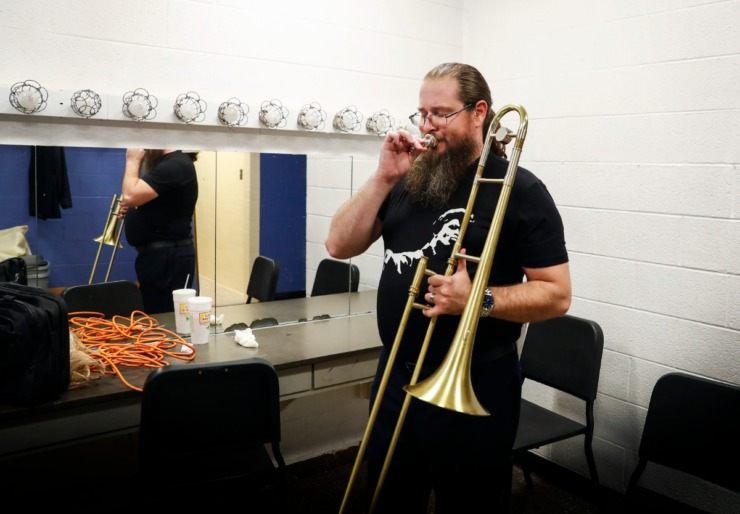 <strong>University of Memphis doctoral student Tommy Johnson warms up before his doctorate of musical arts recital on campus Tuesday, April 28, 2020.</strong> (Mark Weber/Daily Memphian)