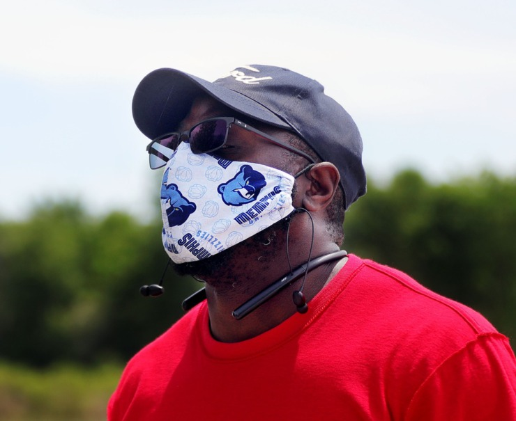 <strong>Taking the recommended safety measure of wearing a mask when going out in public, James Brown walks around Hyde Lake in Shelby Farms Park on May 1, 2020.</strong> (Patrick Lantrip/Daily Memphian)