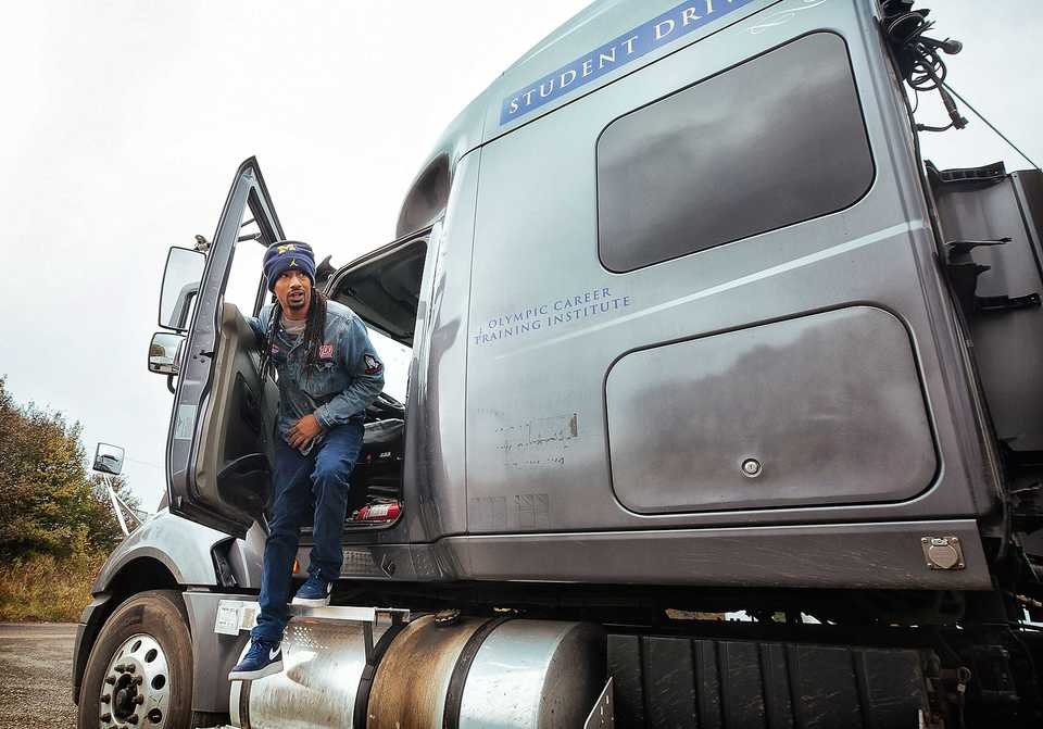 <strong>Student driver Dave Lanier exits a training vehicle at Olympic Career Training Institute&rsquo;s training site on Nov. 19, 2018.</strong> (Ziggy Mack/Special to The Daily Memphian)