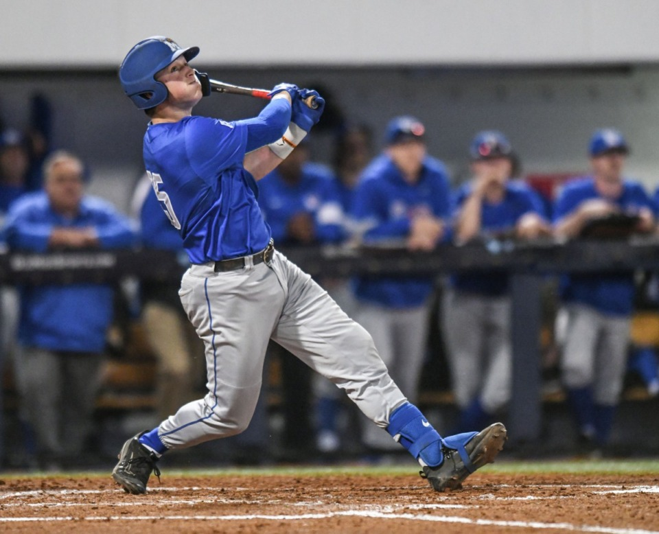 <strong>Memphis&rsquo; Hunter Goodman drives in a run against Ole Miss during their baseball game at Oxford-University Stadium in Oxford, Miss., on March 3, 2020.</strong> <span><strong>This season Goodman was second on the team in batting average (.357) and led the Tigers with eight home runs and 31 runs batted in through 17 games.</strong>&nbsp;</span>(Bruce Newman/Special to the Daily Memphian file)