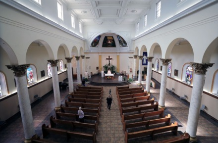 <strong>Monsignor Val Handwerker delivers a virtual sermon to the parishioners watching safely from home at St. Patrick Catholic Church May 3, 2020.</strong> (Patrick Lantrip/Daily Memphian)