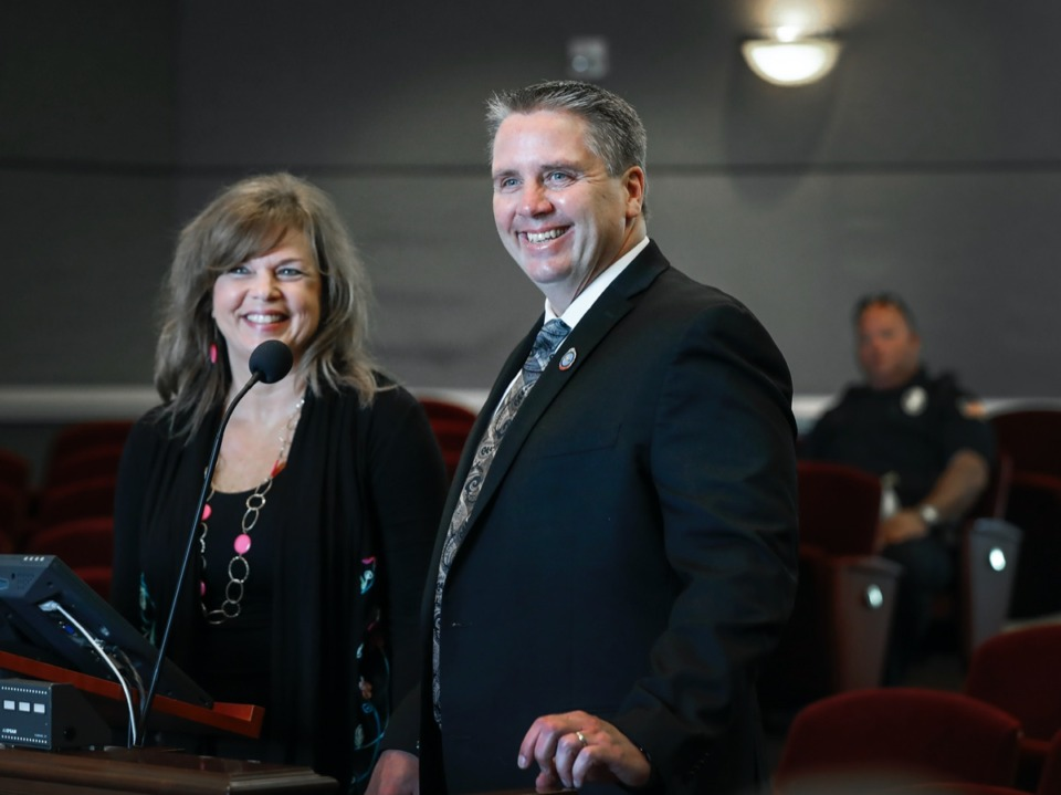 <strong>Collierville appointed new Chief of Police Dale Lane (right) seen with his wife Karen during a special called meeting on Monday, May 4, 2020.</strong> (Mark Weber/Daily Memphian)