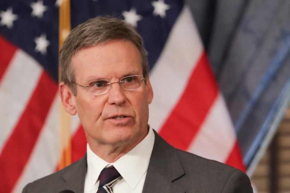 <strong>In this Monday, March 16, 2020, Tennessee Gov. Bill Lee talks to the press in Nashville on March 16, 2020.&nbsp;</strong> (Mark Humphrey/AP file)