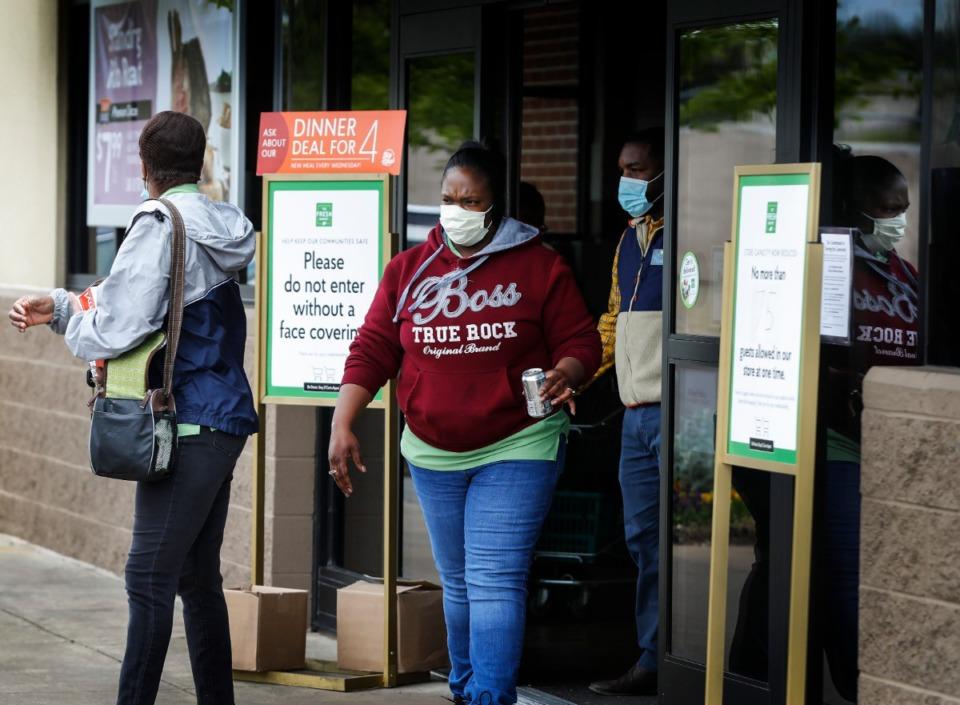 <strong>Fresh Market customers must wear face masks when entering the store, beginning April 14, 2020.</strong> (Mark Weber/Daily Memphian file)