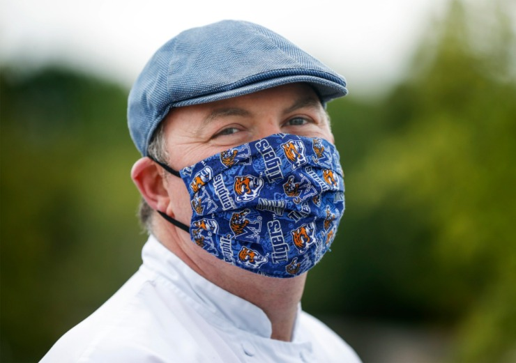 <strong>Chef Ashton Hall wears a University of Memphis face mask on Friday, May 8, 2020 at Shelby Farms.</strong> (Mark Weber/Daily Memphian)