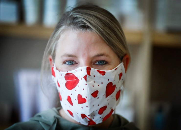 <strong>Merle Norman Cosmetics owner Kelley Dennis wears a heart covered face mask on Monday, May 4, 2020, at the Cordova store.</strong> (Mark Weber/Daily Memphian)