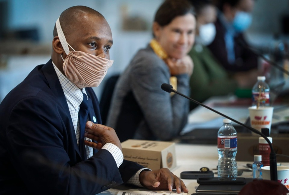 <strong>Shelby County Commissioner Van Turner (left) asks questions while attending a Budget Reset Retreat on Friday, May 8, 2020, at Shelby Farms.</strong> (Mark Weber/Daily Memphian)