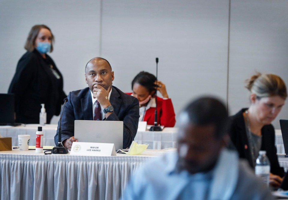 <strong>Shelby County Mayor Lee Harris (left) and county commissioners attend a Budget Reset Retreat on Friday, May 8, 2020, at Shelby Farms.</strong> (Mark Weber/Daily Memphian)