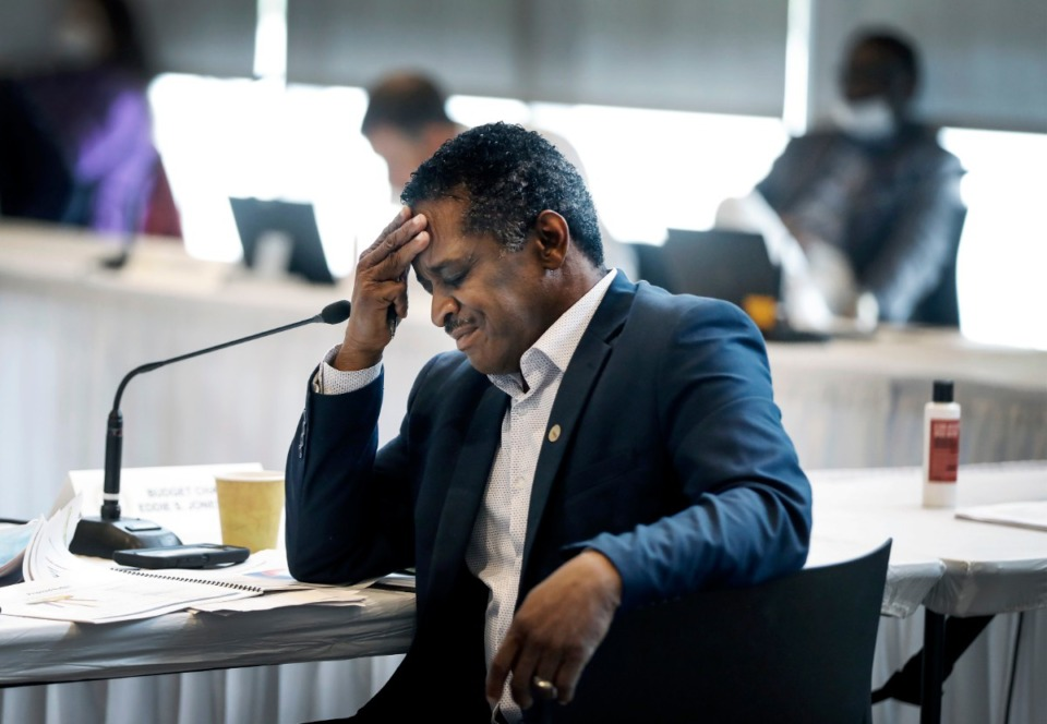 <strong>Shelby County Commissioner Eddie Jones attends a Budget Reset Retreat on Friday, May 8, 2020, at Shelby Farms.</strong> (Mark Weber/Daily Memphian)