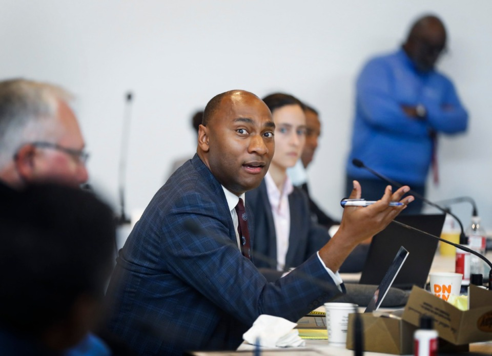 <strong>Shelby County Mayor Lee Harris (middle) and county commissioners attend a Budget Reset Retreat on Friday, May 8, 2020, at Shelby Farms.</strong> (Mark Weber/Daily Memphian)