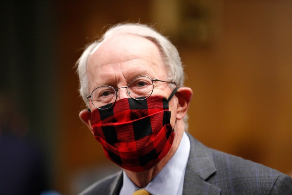 <strong>Chairman Sen. Lamar Alexander wears a plaid face mask before a Senate Health Education Labor and Pensions Committee hearing on new coronavirus tests on Capitol Hill in Washington, Thursday, May 7, 2020.</strong> (Andrew Harnik/AP)