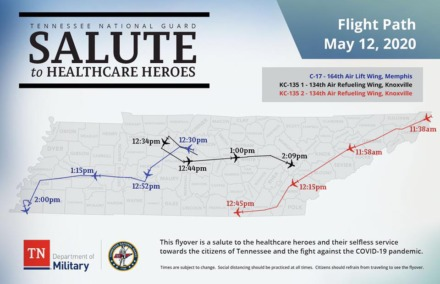 <strong>Tennessee Air National Guard flyover route Tuesday, May 12.</strong> <em>(Submitted)</em>
