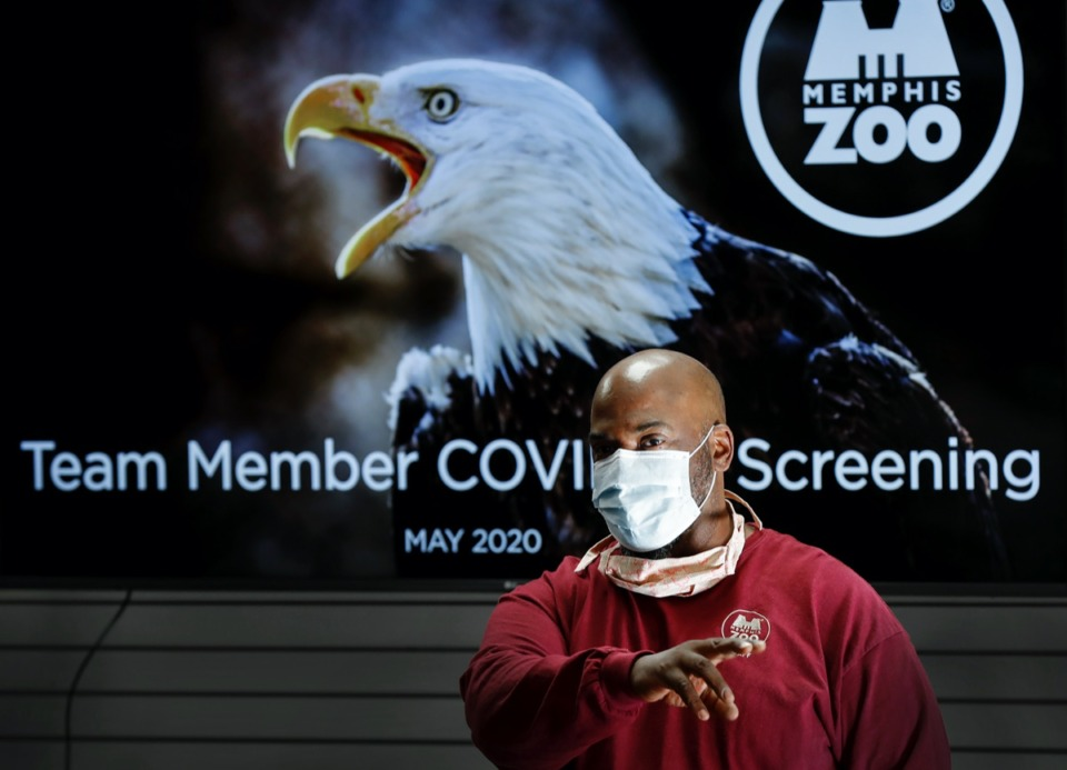 <strong>Memphis Zoo&rsquo;s Malcolm Body discusses new safety measures and protocols with staff on Monday, May 11, 2020. The Zoo will reopen on Wednesday with new social distancing guidelines because of the COVID-19 outbreak.</strong> (Mark Weber/Daily Memphian)