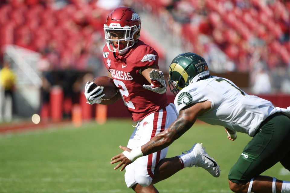 <strong>Arkansas running back Chase Hayden runs the ball against Colorado State during an NCAA football game on Saturday, Sept. 14, 2019 in Fayetteville, Ark.</strong> (Michael Woods/AP)