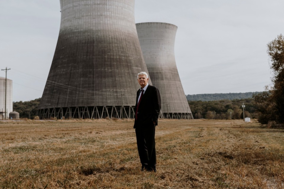 <strong>Former Chattanooga developer, Franklin L. Haney Sr., stands in front of the Bellefonte Nuclear Plant in Hollywood, Ala. Haney purchased the plant in 2016 for $111 million and is planning to spend another $13 billion to get it running.</strong> (Houston Cofield/Daily Memphian file)