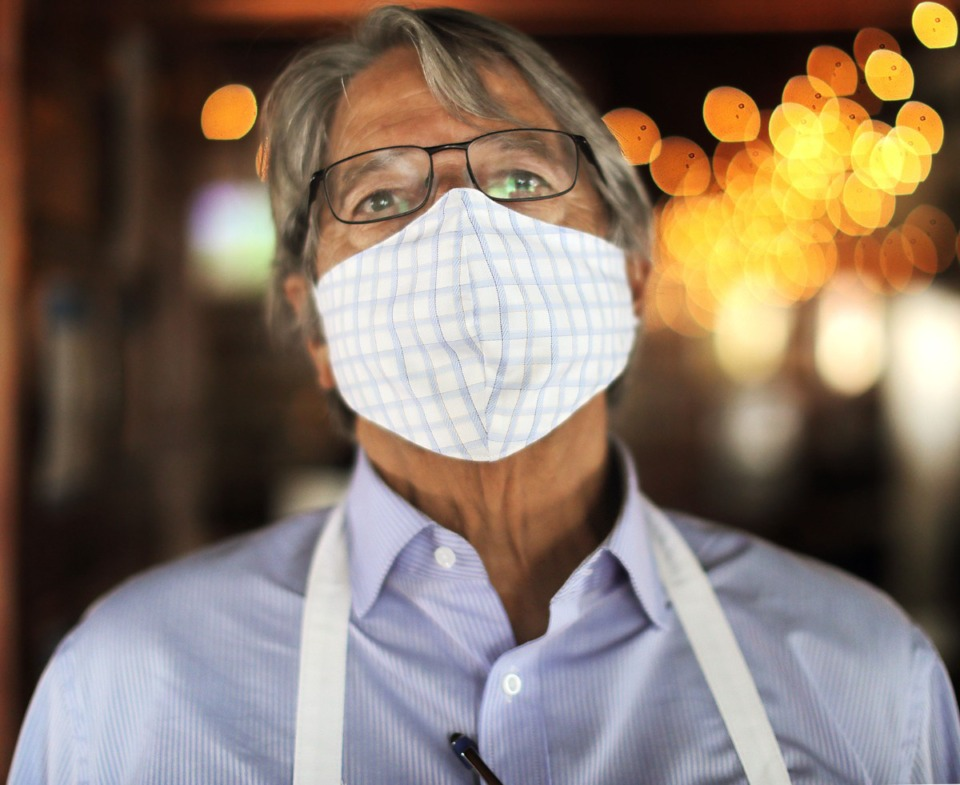 <strong>Half Shell owner Danny Shumrall poses for a masked portrait in his East Memphis restaurant May 4, 2020.</strong> (Patrick Lantrip/Daily Memphian)