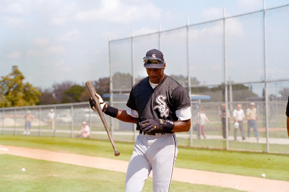<strong>Chicago White Sox minor-leaguer Michael Jordan finishes batting practice during spring training Feb. 27, 1995, in Sarasota, Fla.</strong> (Pat Sullivan/Associated Press)