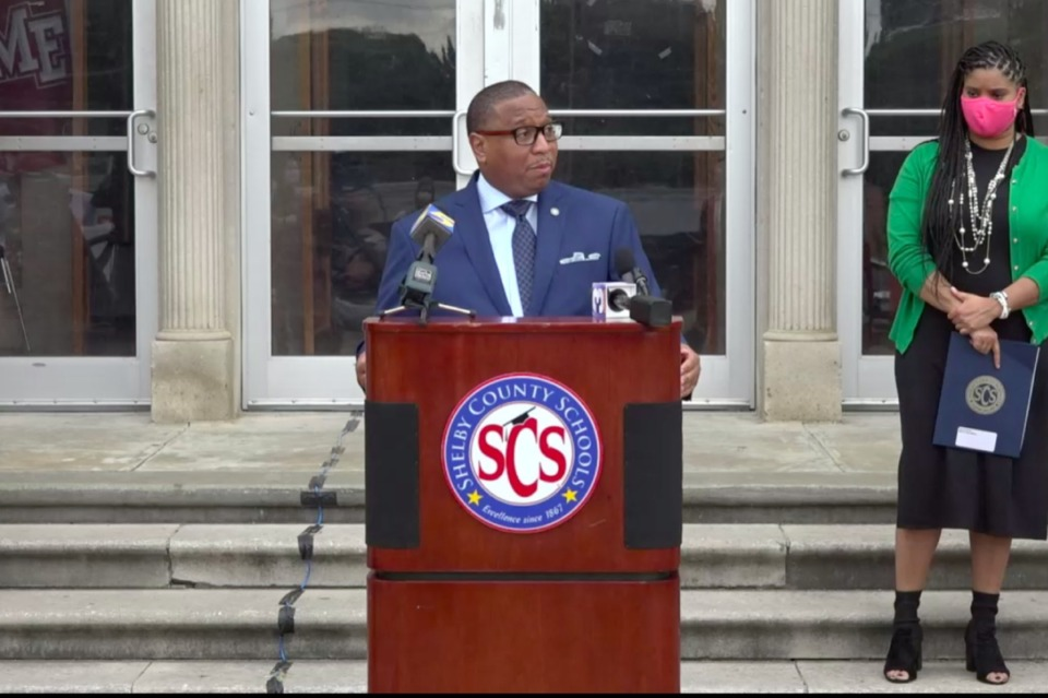 <strong>Superintendent Joris Ray speaks to reporters Monday about how the district will form plans to reopen Memphis school buildings. (</strong>Laura Faith Kebede/Chalkbeat)