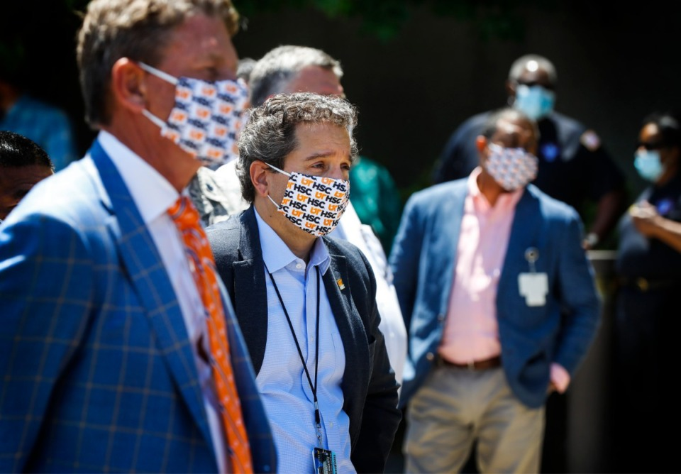 <strong>David Schwartz a professor at University of Tennessee Health Science Center attends a press conference outside the former Commercial Appeal building on Monday, May 18, 2020.</strong> (Mark Weber/Daily Memphian)