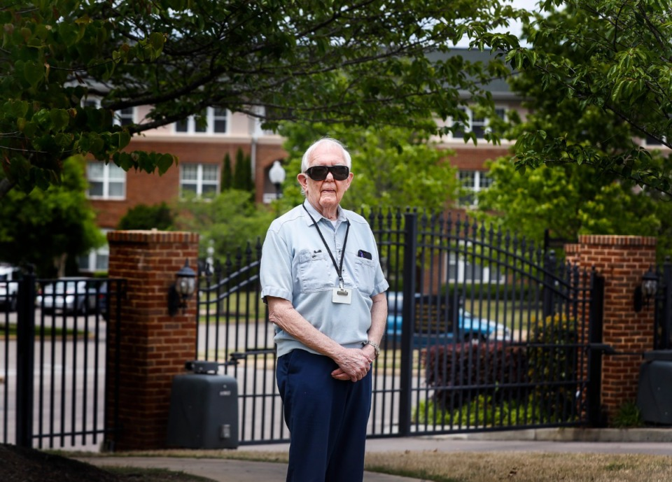 <strong>Dr. Jerry Francisco, a resident of The Village of Germantown, stands in front of the facility on Tuesday, April 28, 2020, where four people have died. Francisco, the former longtime medical examiner for Shelby County who performed autopsies on Dr. Martin Luther King Jr. and Elvis Presley.</strong> (Mark Weber/Daily Memphian)