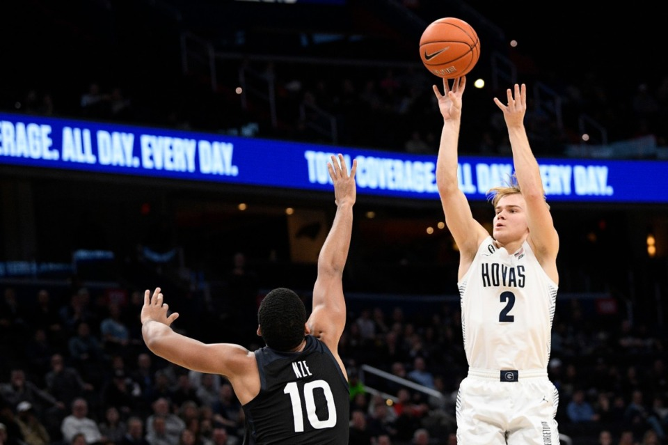 <strong>Georgetown guard Mac McClung (2) shoots against Butler on Jan. 28, 2020, in Washington.</strong> (Nick Wass/AP file)