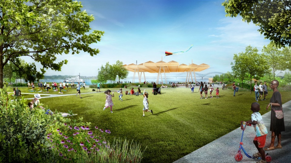 "<strong>The artistic rendering of what might be Tom Lee Park's ""active core""</strong>&nbsp;<strong>impressed attendees Wednesday's presentation, especially when the rendering was compared to that space as it is now.</strong>&nbsp;(Courtesy of&nbsp;<span>Mississippi River Parks Partnership)</span>"