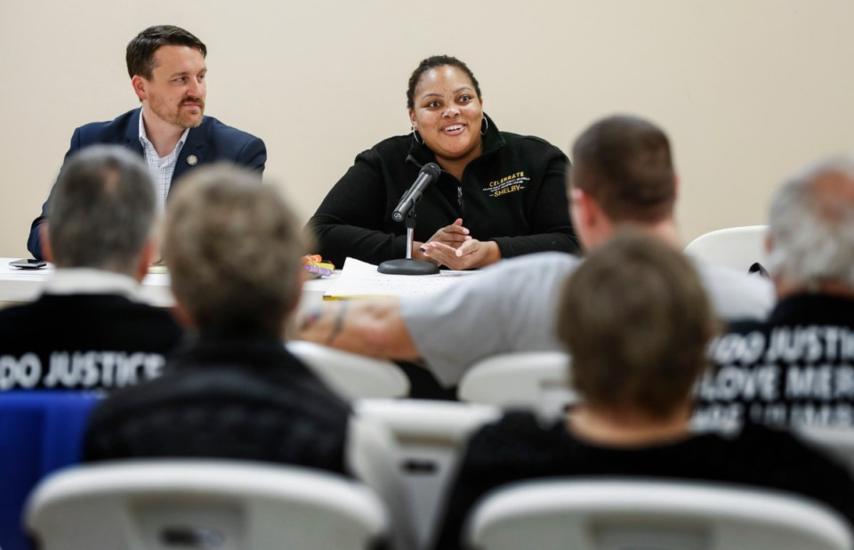 <strong>Shelby County Commissioner Tami Sawyer (right, at the Bartlett Senior Center on Tuesday, March 10, 2020) discusses the difficulties with making a budget during a pandemic on this week's Politics Podcast.</strong> (Mark Weber/Daily Memphian)
