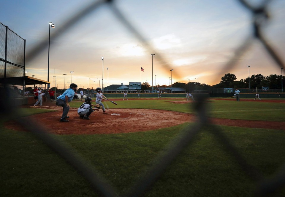 <strong>The Collierville Dragons played a youth baseball tournament game against the Arlington Arsenal on May 22, 2020.</strong> (Patrick Lantrip/Daily Memphian)
