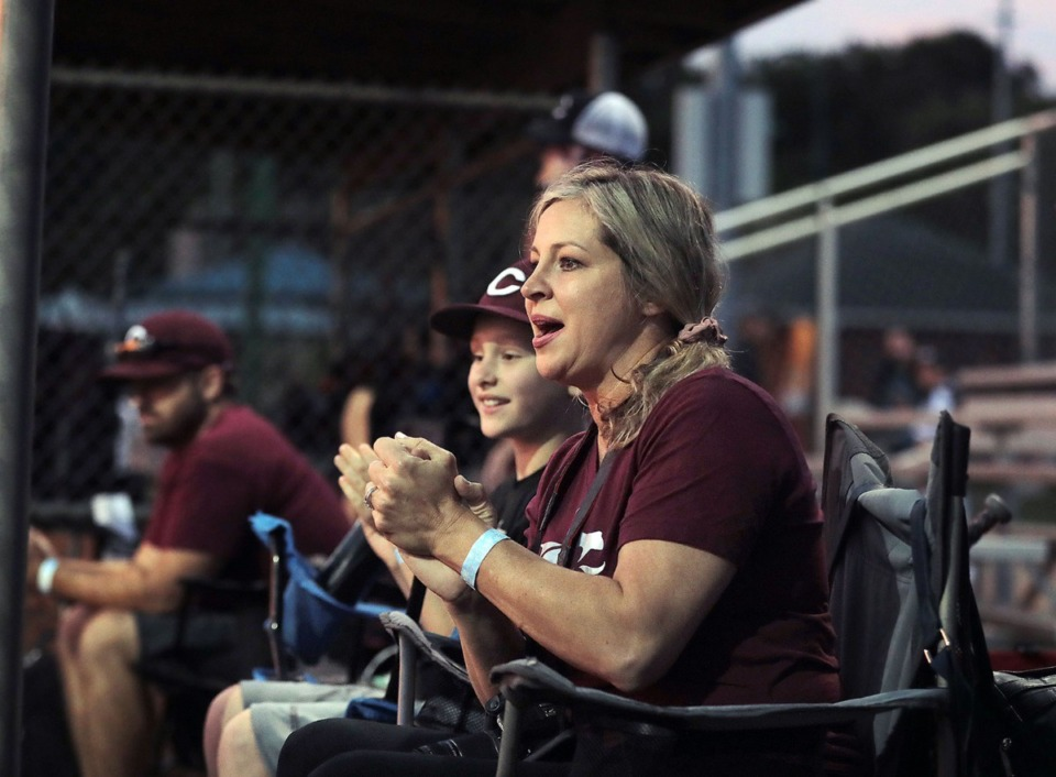 <strong>Lisa Ford cheers on her son, Landon, during a youth baseball tournament game May 22, 2020.</strong> (Patrick Lantrip/Daily Memphian)
