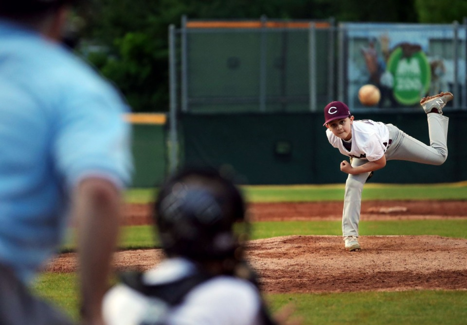 <strong>Collierville Dragons pitcher Blake Harvey throws a strike during youth baseball tournament game against the Arlington Arsenal May 22, 2020.</strong> (Patrick Lantrip/Daily Memphian)