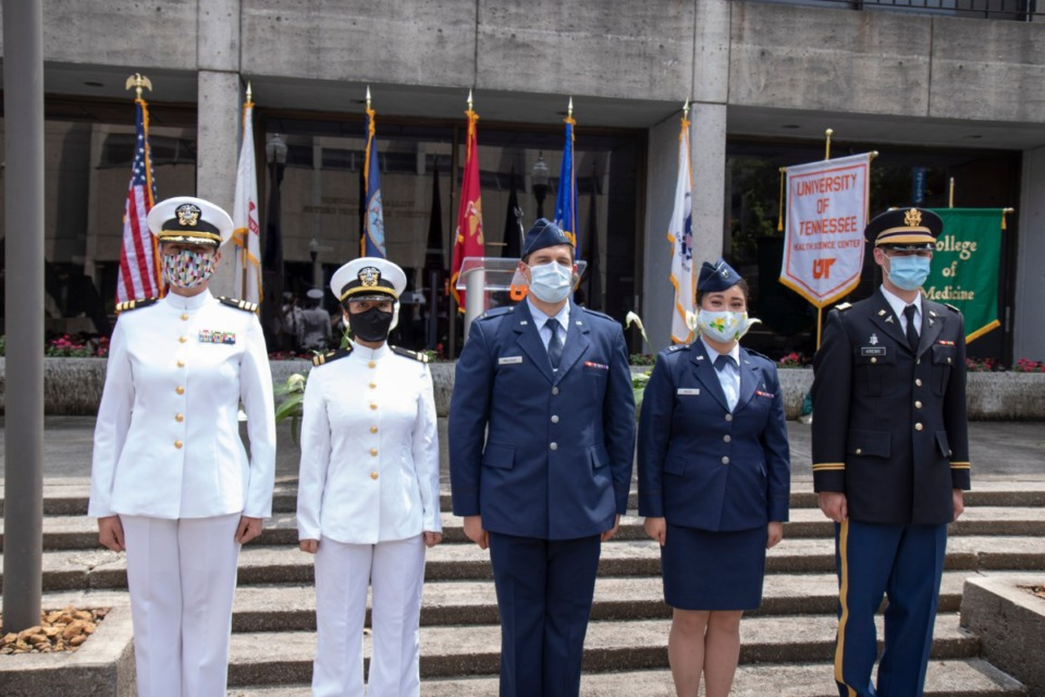 <strong>(From left) Anja Dabelic, MD, FAAFP, Capt. MC USN; Reece McKenzie, Benjamin Mallicoat, Jami Reece, Joseph Krebs.</strong> (Submitted)